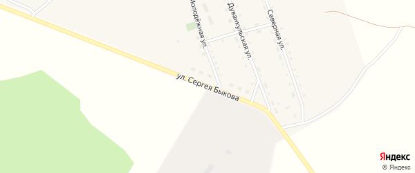 Улица Сергея Быкова на карте села Дуванкуля Челябинской области с номерами домов