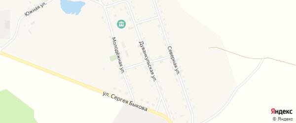 Дуванкульская улица на карте села Дуванкуля Челябинской области с номерами домов