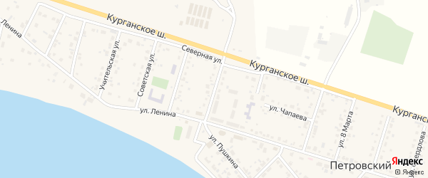 Улица 40 лет Победы на карте Петровского поселка Челябинской области с номерами домов
