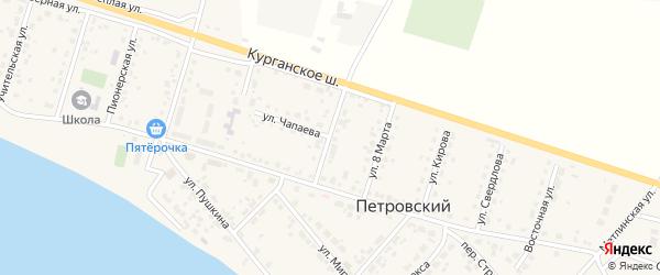 Комсомольская улица на карте Петровского поселка Челябинской области с номерами домов