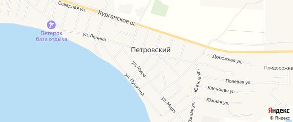 Карта Петровского поселка в Челябинской области с улицами и номерами домов