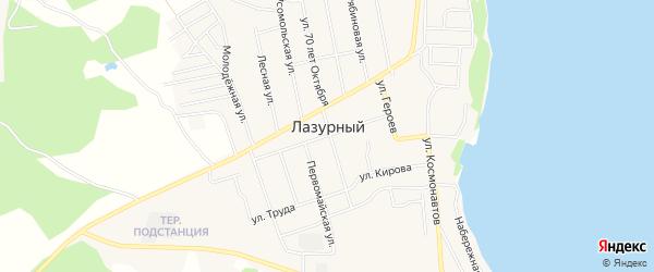 Карта Лазурного поселка в Челябинской области с улицами и номерами домов