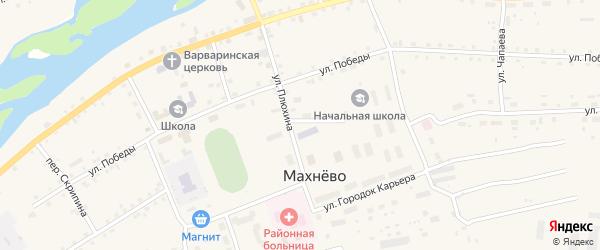 Ленинский переулок на карте поселка Махнево Свердловской области с номерами домов