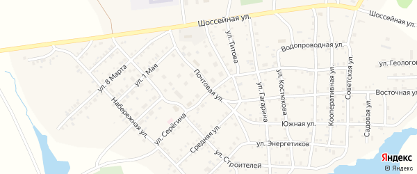Почтовая улица на карте села Бобровки с номерами домов