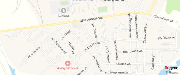 Котельная улица на карте села Бобровки Челябинской области с номерами домов