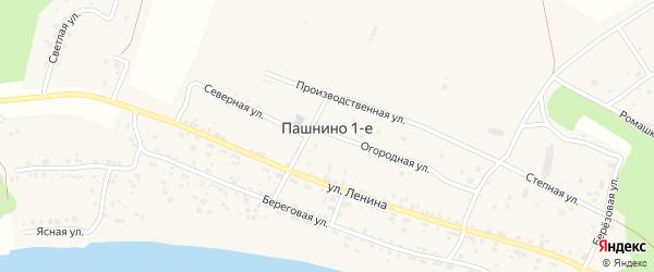 Восточная улица на карте деревни Пашнино 1-е с номерами домов