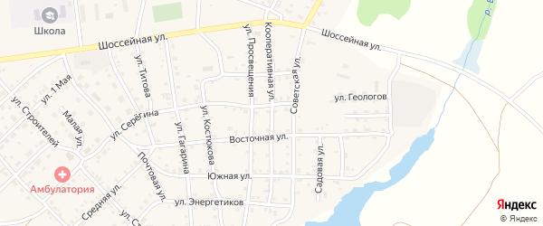 Кооперативная улица на карте села Бобровки Челябинской области с номерами домов
