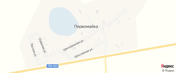 Центральная улица на карте поселка Первомайки Челябинской области с номерами домов