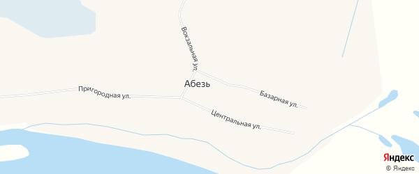 Карта поселка Абези города Инты в Коми с улицами и номерами домов