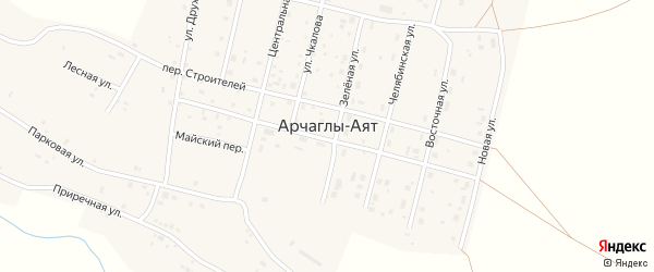 Центральная улица на карте поселка Арчаглы-Аят с номерами домов