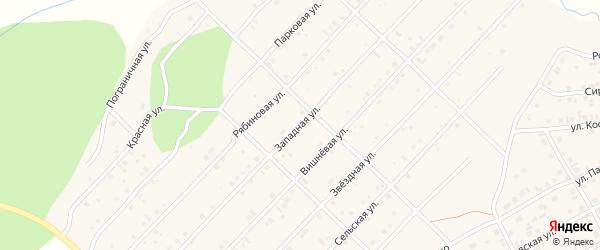 Западная улица на карте Миасского села с номерами домов