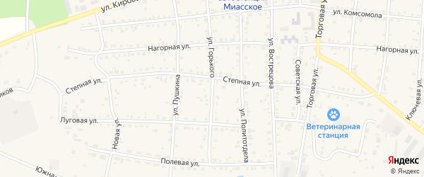 Улица Горького на карте Миасского села Челябинской области с номерами домов