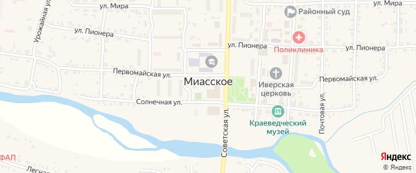 Территория сдт Заречный на карте Миасского села с номерами домов
