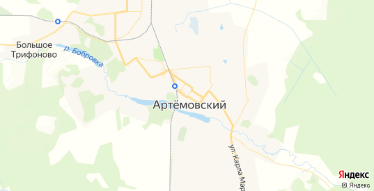Карта Артемовского с улицами и домами подробная. Показать со спутника номера домов онлайн