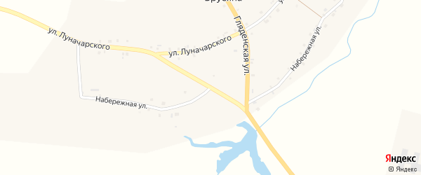 Набережная улица на карте деревни Брусяна Свердловской области с номерами домов