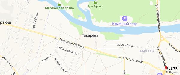 Карта деревни Токарева города Каменска-Уральского в Свердловской области с улицами и номерами домов