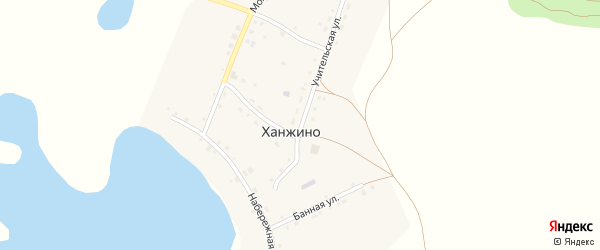 Набережная улица на карте села Ханжино Челябинской области с номерами домов