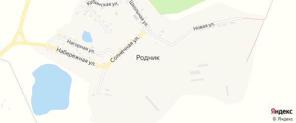 Солнечная улица на карте поселка Родника с номерами домов