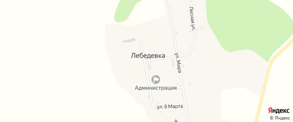 Улица Победы на карте села Лебедевки Челябинской области с номерами домов