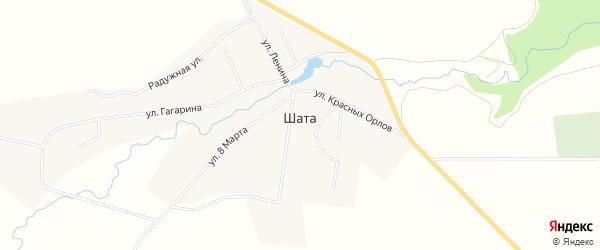 Карта деревни Шата в Свердловской области с улицами и номерами домов
