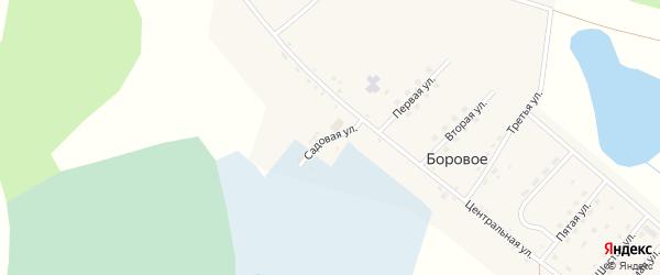 Садовая улица на карте деревни Борового Челябинской области с номерами домов