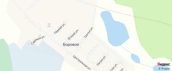 Третья улица на карте деревни Борового Челябинской области с номерами домов
