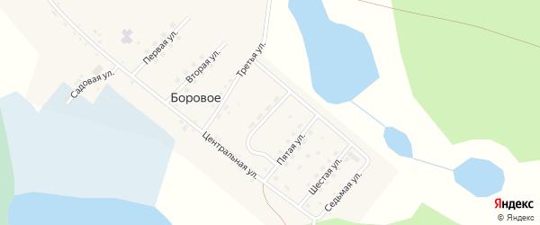 Четвертая улица на карте деревни Борового Челябинской области с номерами домов