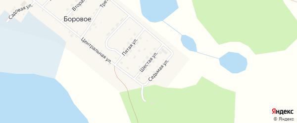 Шестая улица на карте деревни Борового Челябинской области с номерами домов