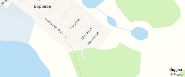 Седьмая улица на карте деревни Борового Челябинской области с номерами домов