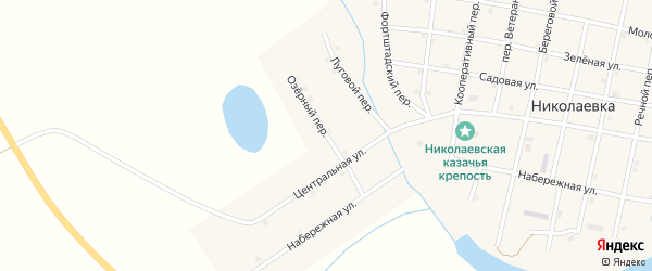 Озерный переулок на карте села Николаевки с номерами домов
