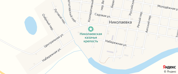 Набережная улица на карте села Николаевки Челябинской области с номерами домов