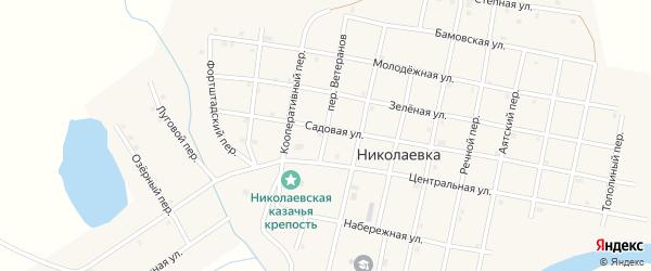 Переулок Ветеранов на карте села Николаевки Челябинской области с номерами домов