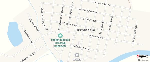 Береговой переулок на карте села Николаевки Челябинской области с номерами домов