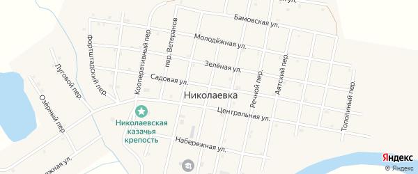 Школьный переулок на карте села Николаевки Челябинской области с номерами домов