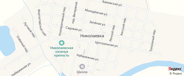 Николаевский переулок на карте села Николаевки с номерами домов