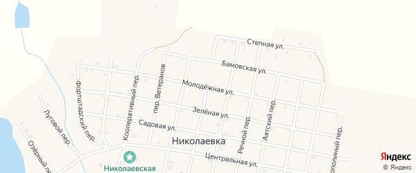 Молодежная улица на карте села Николаевки Челябинской области с номерами домов