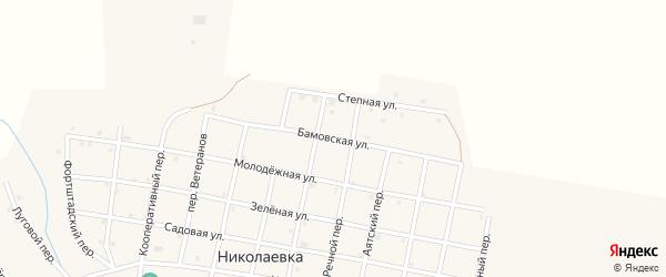 Бамовская улица на карте села Николаевки Челябинской области с номерами домов