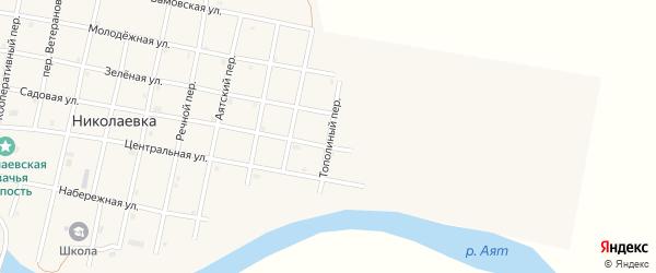 Тополиный переулок на карте села Николаевки Челябинской области с номерами домов