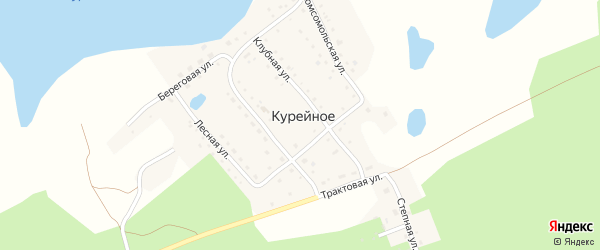Комсомольская улица на карте поселка Курейного с номерами домов