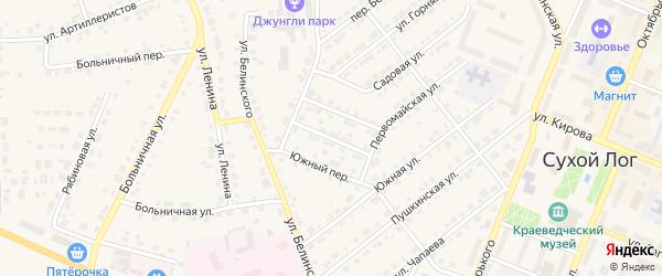 Садовый переулок на карте Сухого Лога с номерами домов