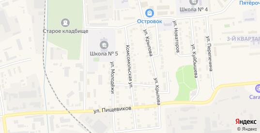 Комсомольская улица в Богдановиче с номерами домов на карте. Спутник и схема онлайн