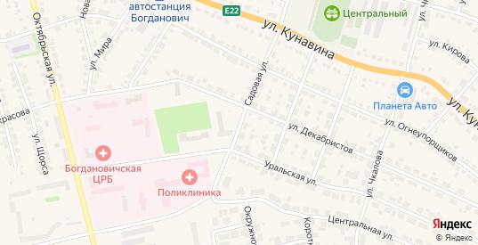 Садовая улица в Богдановиче с номерами домов на карте. Спутник и схема онлайн