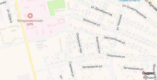 Окружной переулок в Богдановиче с номерами домов на карте. Спутник и схема онлайн