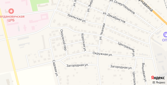 Короткая улица в Богдановиче с номерами домов на карте. Спутник и схема онлайн