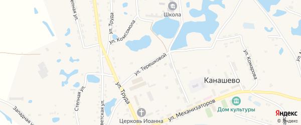 Улица Терешковой на карте села Канашево Челябинской области с номерами домов