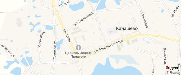 Ясная улица на карте села Канашево Челябинской области с номерами домов