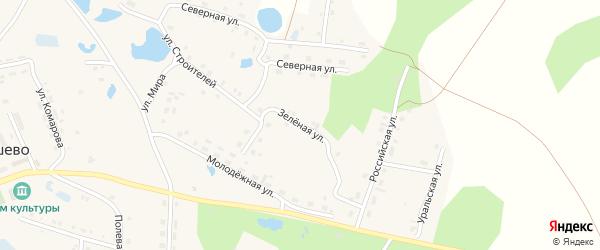 Зеленая улица на карте села Канашево с номерами домов