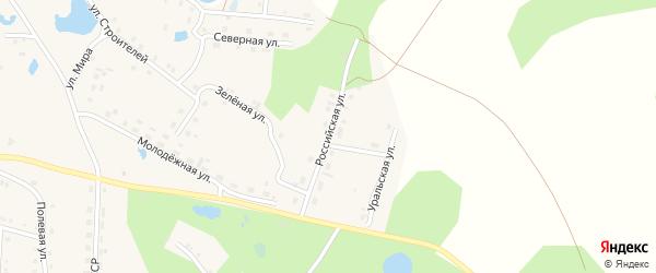 Российская улица на карте села Канашево с номерами домов