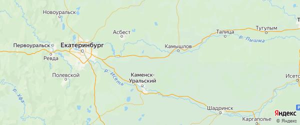 Карта Богдановичского района Свердловской области с городами и населенными пунктами