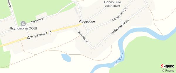 Южная улица на карте деревни Якупово Челябинской области с номерами домов